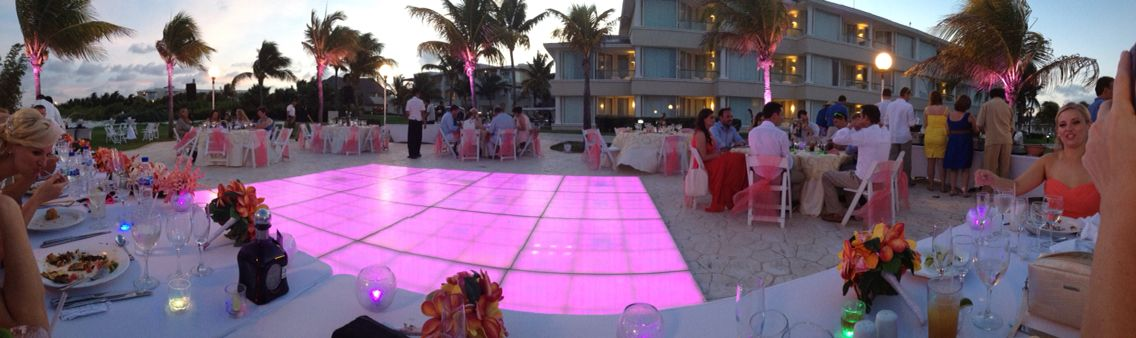 I highly recommend splurging on a light up dance floor if you are having an outdoor reception. Moon Palace Cancun, Mexico.