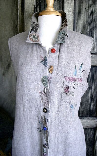 My re-designed stenciled summer linen dress