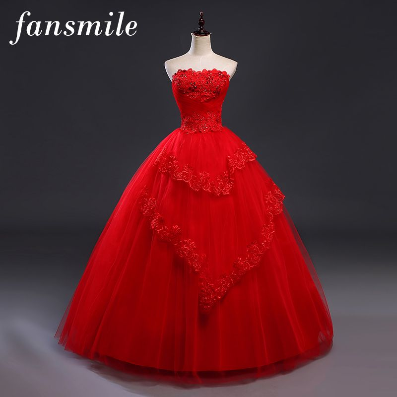 fansmile cheap red vintagelace up wedding dresses vestidos de novia