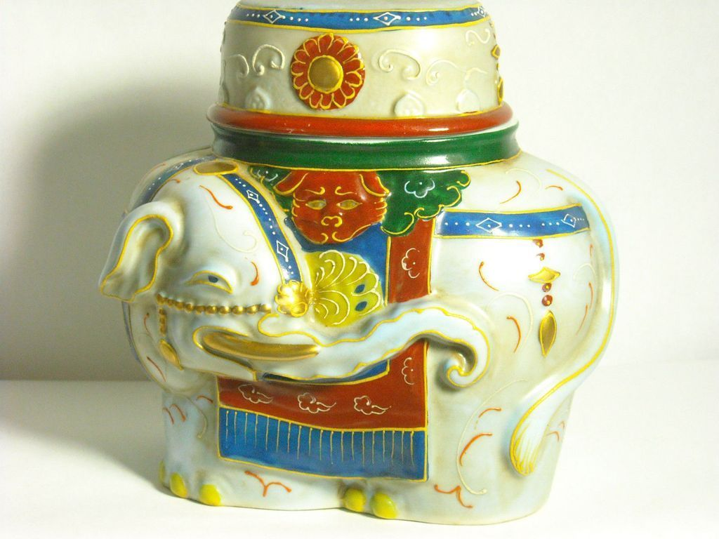 Japanese Porcelain Banko Ware Container of a Colorful Elephant