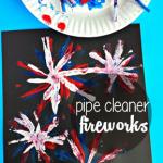 Kids Fireworks Craft Using a Dish Brush - Crafty Morning