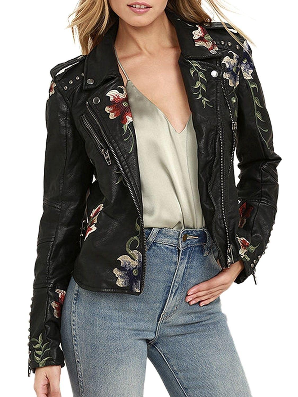 Women S Floral Embroidered Faux Leather Moto Jacket Coat Black Cm1862edxas Leather Jackets Women Jackets For Women Fashion Clothes Women [ 1500 x 1125 Pixel ]