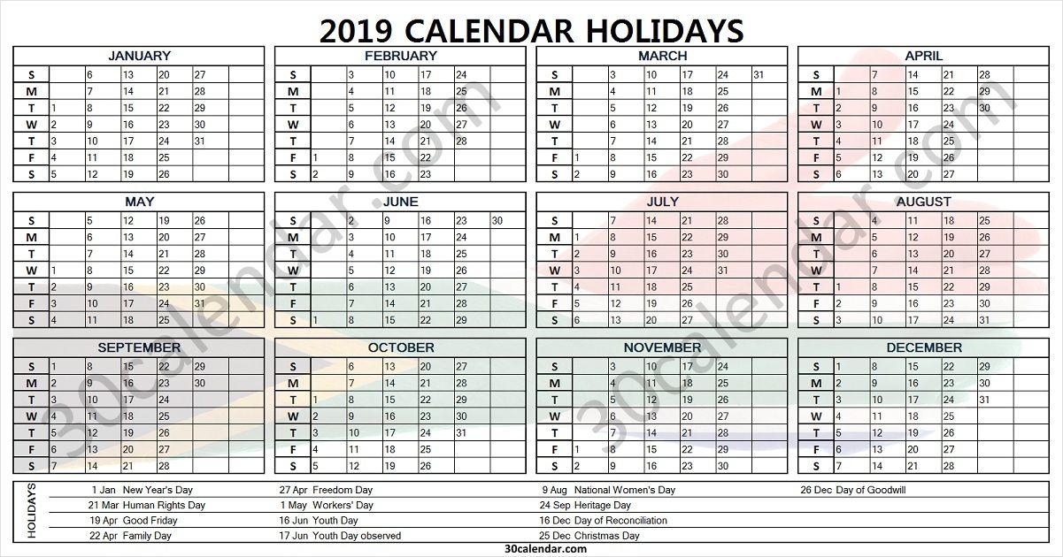 2019 South Africa Holidays Holiday Calendar Holiday Calendar Printable Holiday Templates
