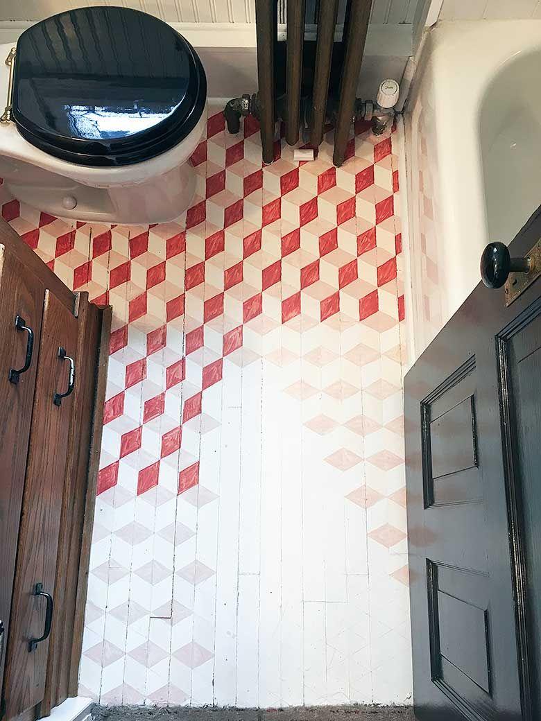 Tumbling Blocks Hand Painted Wood Floor Rhombic Tiling Small Bathroom Painted Floor Painted Wood Floors Diy Painted Floors