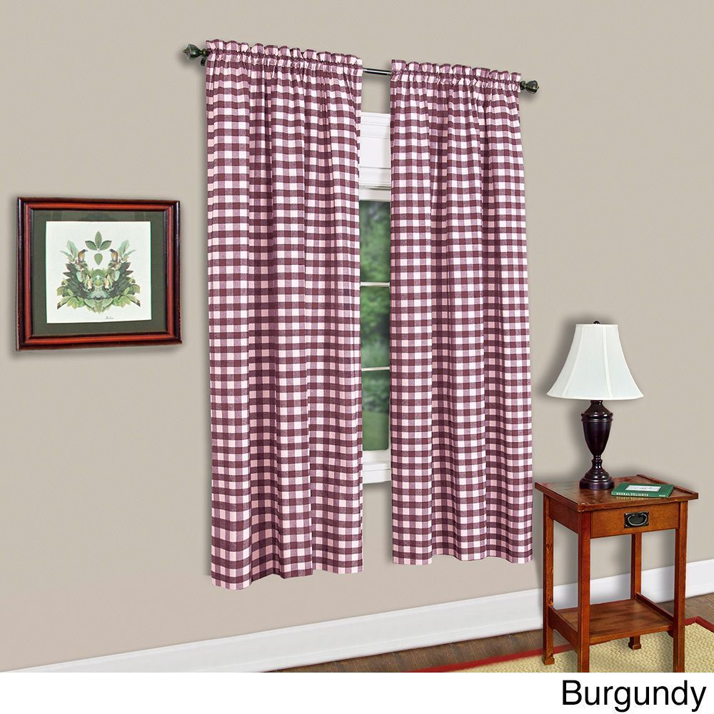 """Buffalo Check Assorted Cotton-blended Window Panel (42""""x63"""", Burgundy (Red)), Size 42 x 63"""