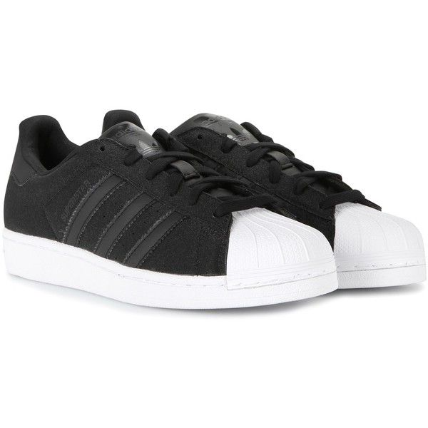 Adidas Superstar Sneakers ($100) ❤ liked on Polyvore featuring shoes, sneakers, adidas, black, adidas sneakers, black sneakers, adidas shoes, adidas trainers and black shoes