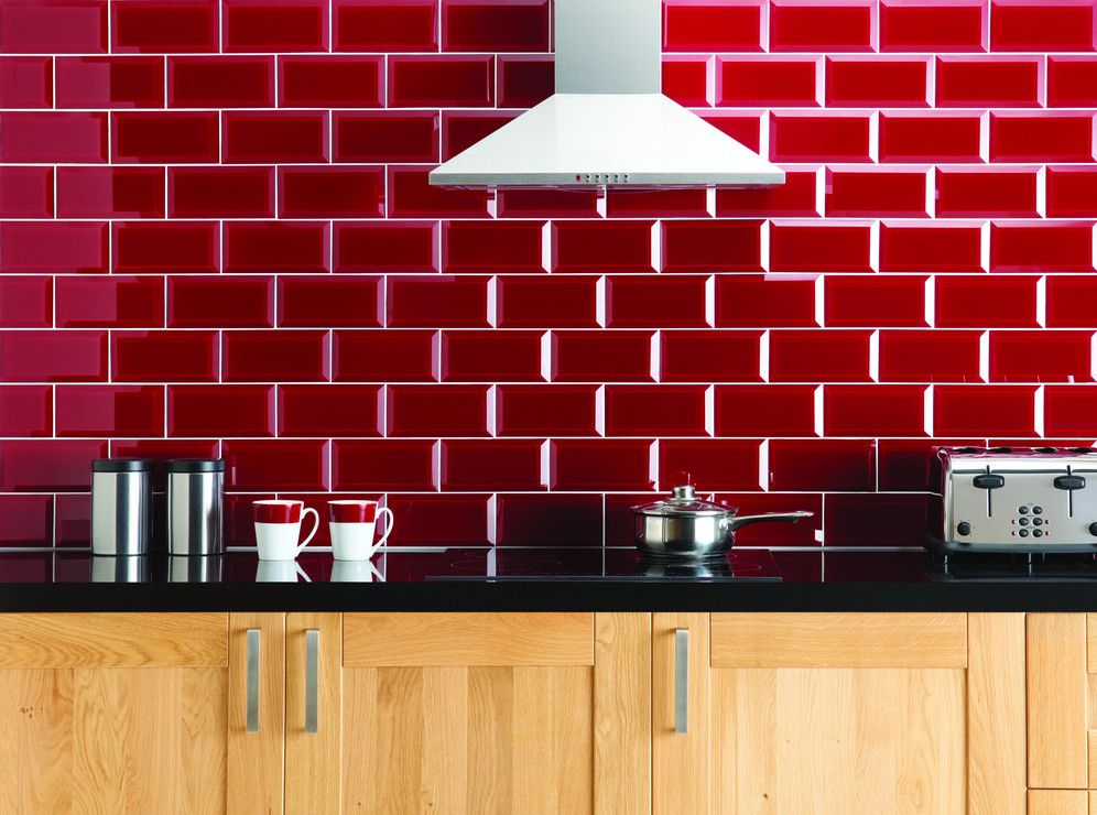 Cherry red splashbacks like this creates a cheery vibe in Splashback tiles kitchen ideas