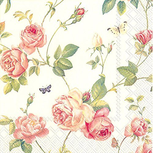 4 Lunch Paper Napkins for Decoupage Party Table Vintage Beige Hydrangea