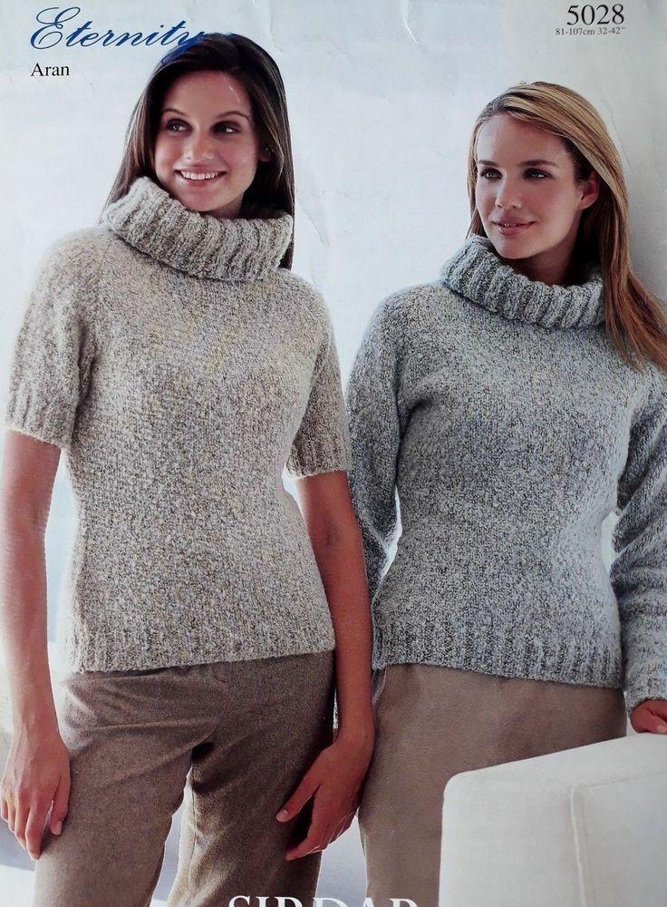653718a35cba Knitting pattern Sirdar 5028 ladies aran polo neck sweater long or short  sleeves  Sirdar