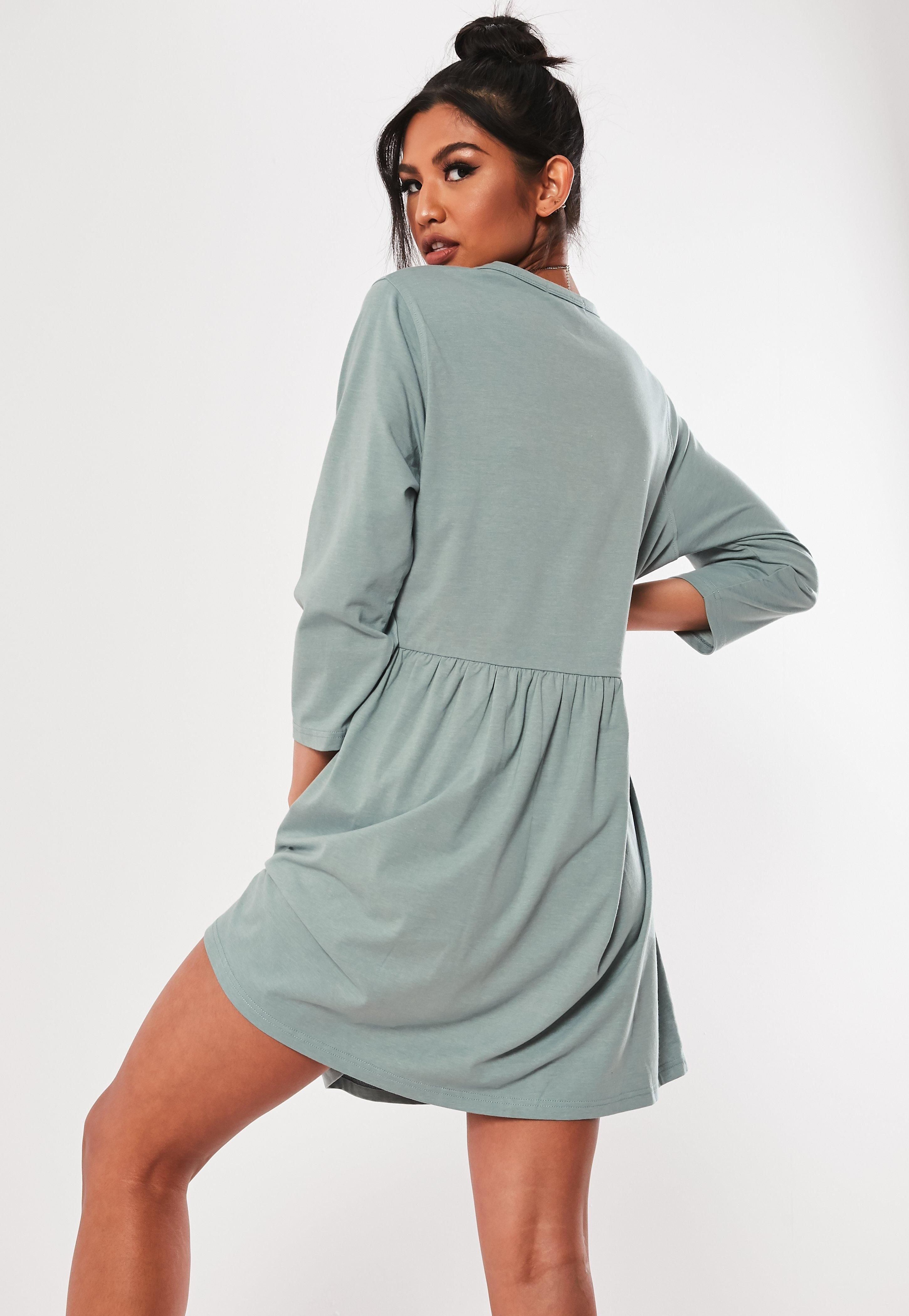 2ee96521147 Gray Jersey Half Sleeve Oversized Smock Dress #Sponsored #Sleeve, #ad, # Jersey, #Gray