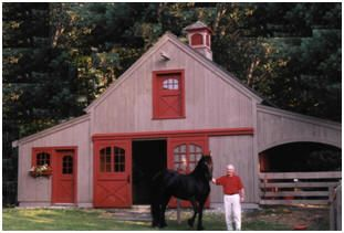 Horse Barn Plans - Order inexpensive blueprints for small, pole-frame stables with hay lofts and optional add-on stalls, tack rooms, grooming shelters, run-ins, garages, tractor shelters and workshops. Build a barn with from one to six stalls. All of the designs in this collection are by architect Don Berg.