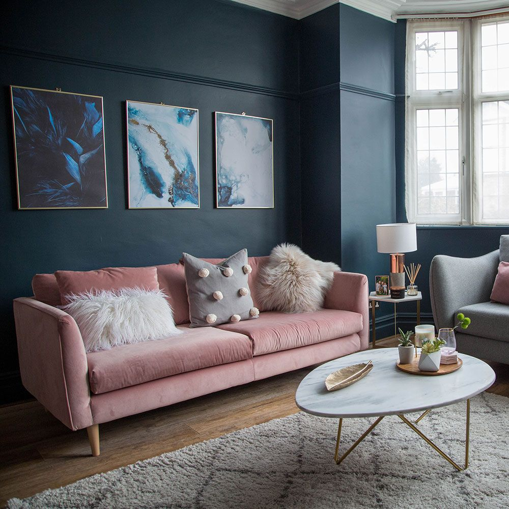 Best Living Room Makeover With Dark Blue Walls Pink Sofa And 400 x 300
