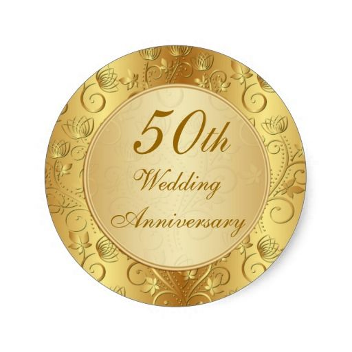 Golden Floral 50th Wedding Anniversary Stickers