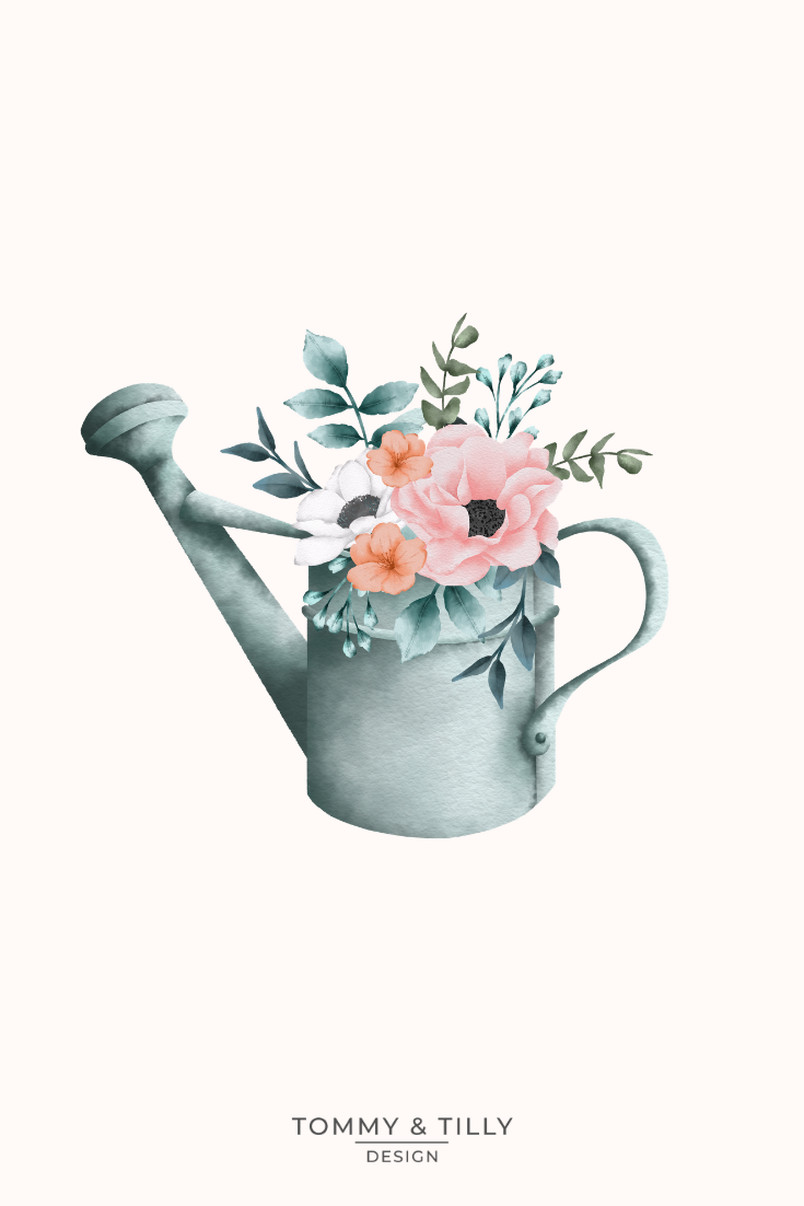 Watercolour Floral Watering Cans High Quality Clipart Png Etsy Floral Watercolor Flower Invitation Flower Wedding Invitation