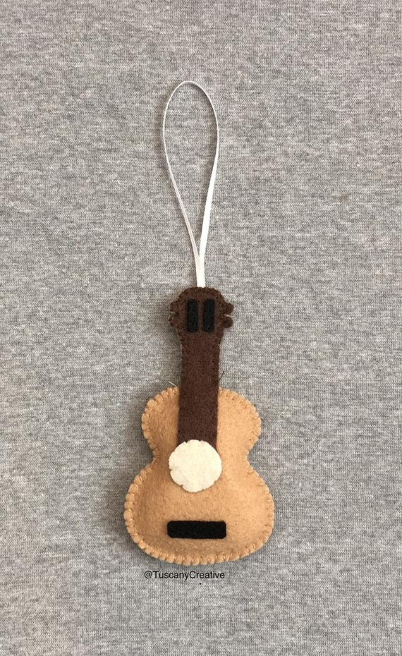 Guitar Christmas Ornament In Brown Felt Etsy In 2021 Diy Felt Christmas Ornaments Felt Crafts Christmas Handmade Felt Ornament