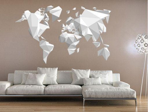 World Map Wall Decor origami world map - wall sticker decal , origami decor - origami