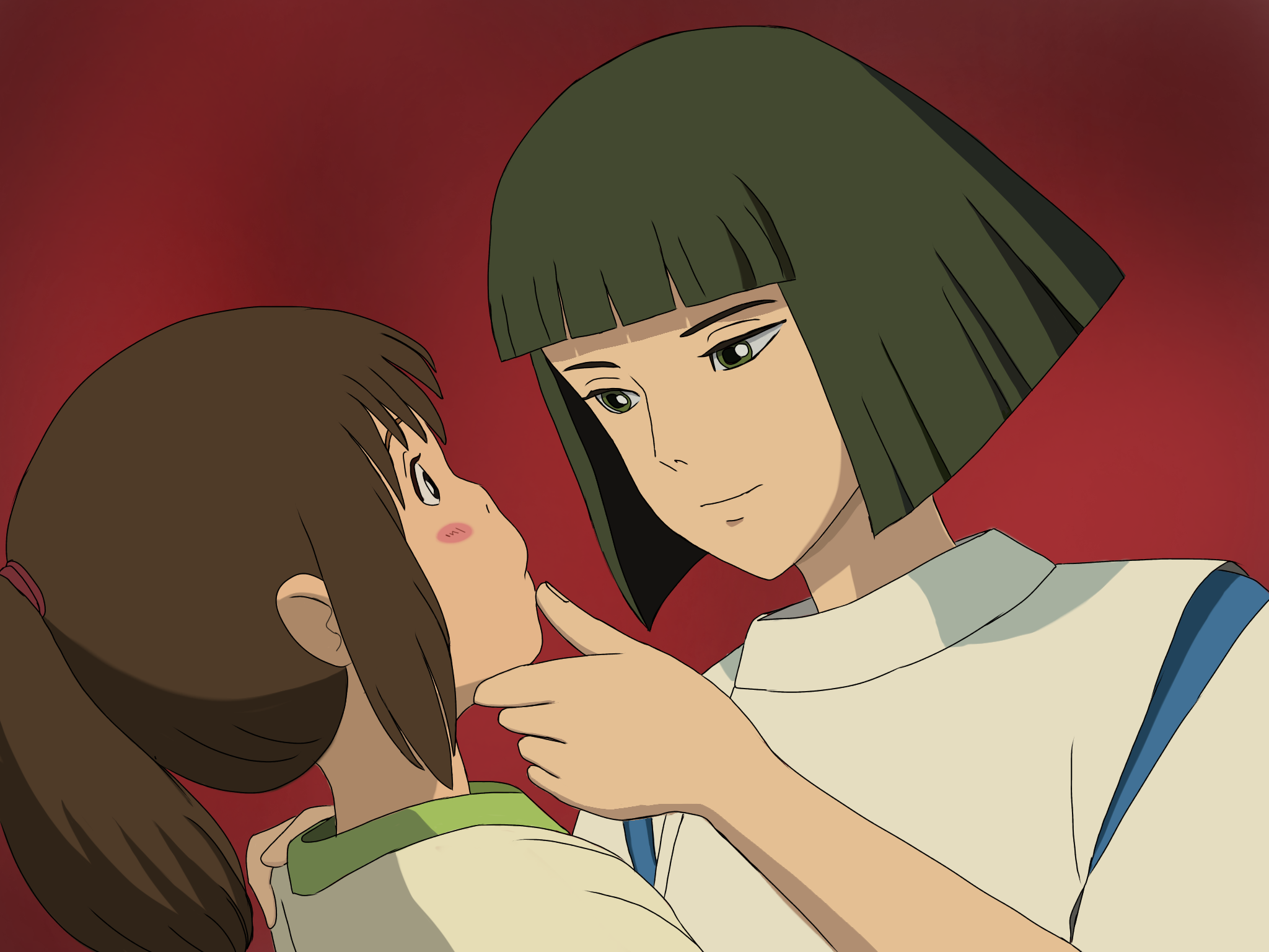 ハク様に顎クイしていただいた アニメ ジブリ アニメイラスト 宮崎駿