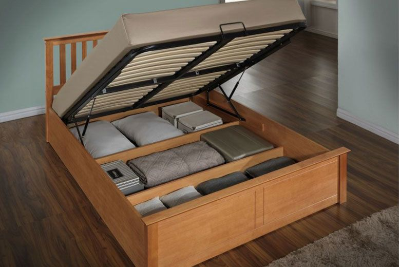 Wooden Ottoman Storage Bed 3 Sizes 2 Colours Dengan Gambar