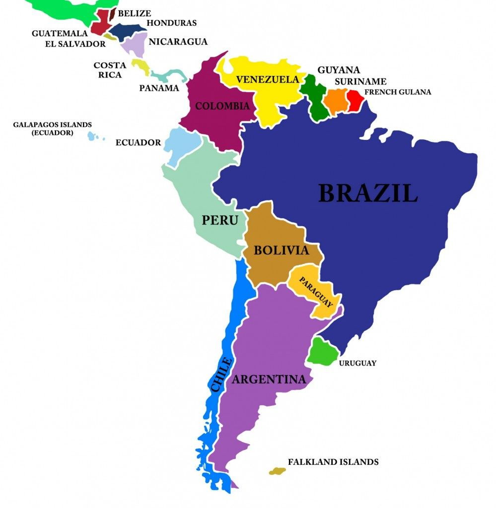 South America Map Buscar Con Google Cities Countries And - Map of usa and south america