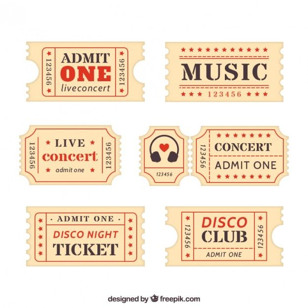 Collection of retro ticket Free Vector Boyfriend!!!! Pinterest - admit one ticket template