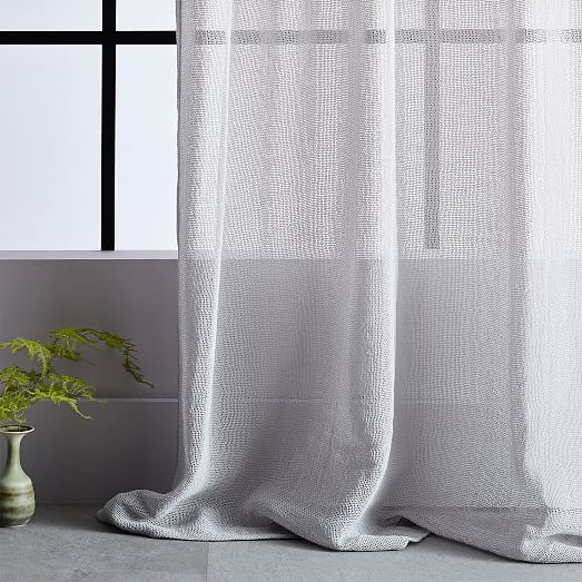 Solid Open Weave Sheer Curtains Set Of 2 Frost Gray Grey Curtains Living Room Curtains For Grey Walls Curtains