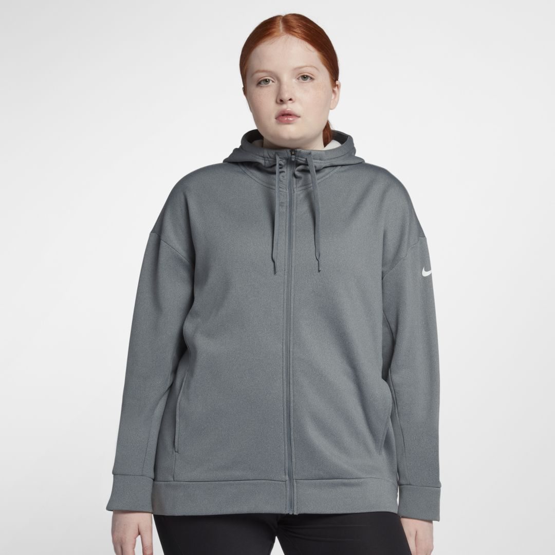 c0607ee7a102e Nike Dri-FIT Therma Women s Full-Zip Training Hoodie (Plus Size) Size 2X  (Cool Grey)