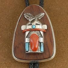 Vintage OLD PAWN Sterling Silver Turquoise Coral Kachina Bolo Tie c60s/70s USA