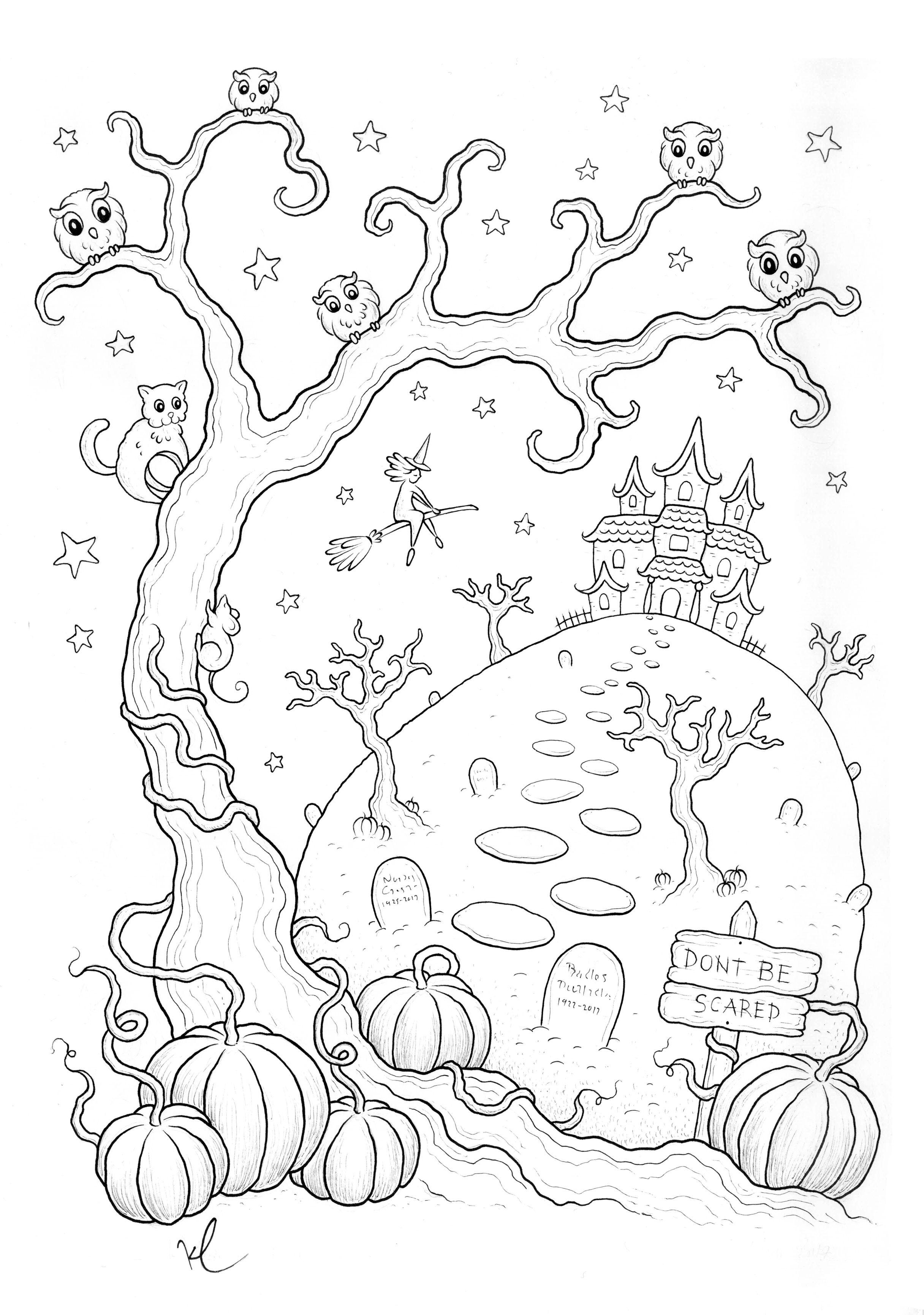coloriage halloween a imprimer qui fait peur par konstantinos liaramantzas - Dessin Halloween Qui Fait Peur
