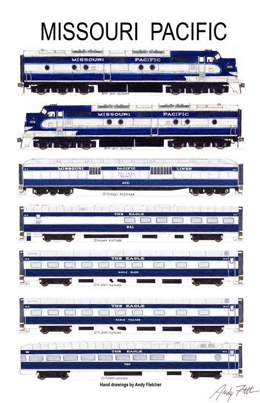 "An 11""x17"" poster with some of Andy Fletcher's hand drawings of Missouri Pacific locomotives and passenger cars."