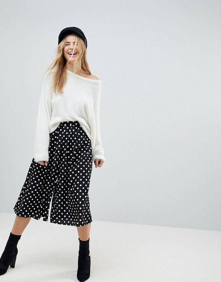 75b5d636b0 Boohoo Polka Dot Wide Leg Culotte Pants   Products   Culotte pants ...
