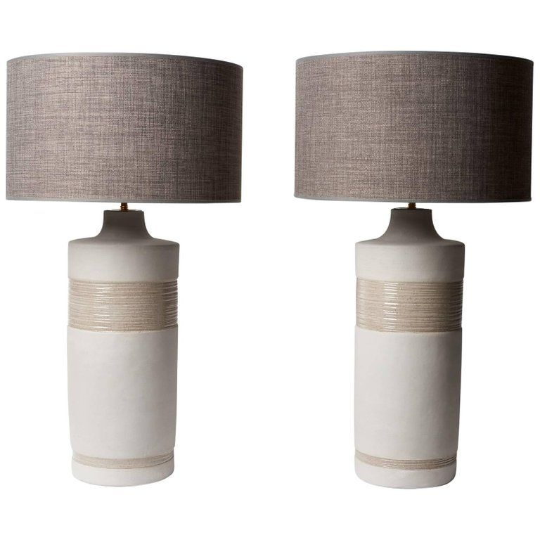 Large Pair Of Grey Ceramic Base Lamps Signed By Dalo In 2019