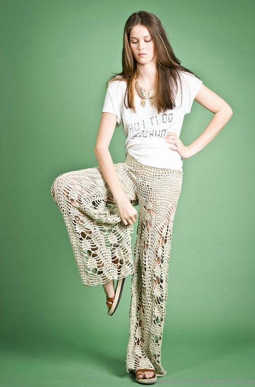 Moda Tejidos verano 2014. Agostina Bianchi primavera verano 2014 pantalones tejidos.