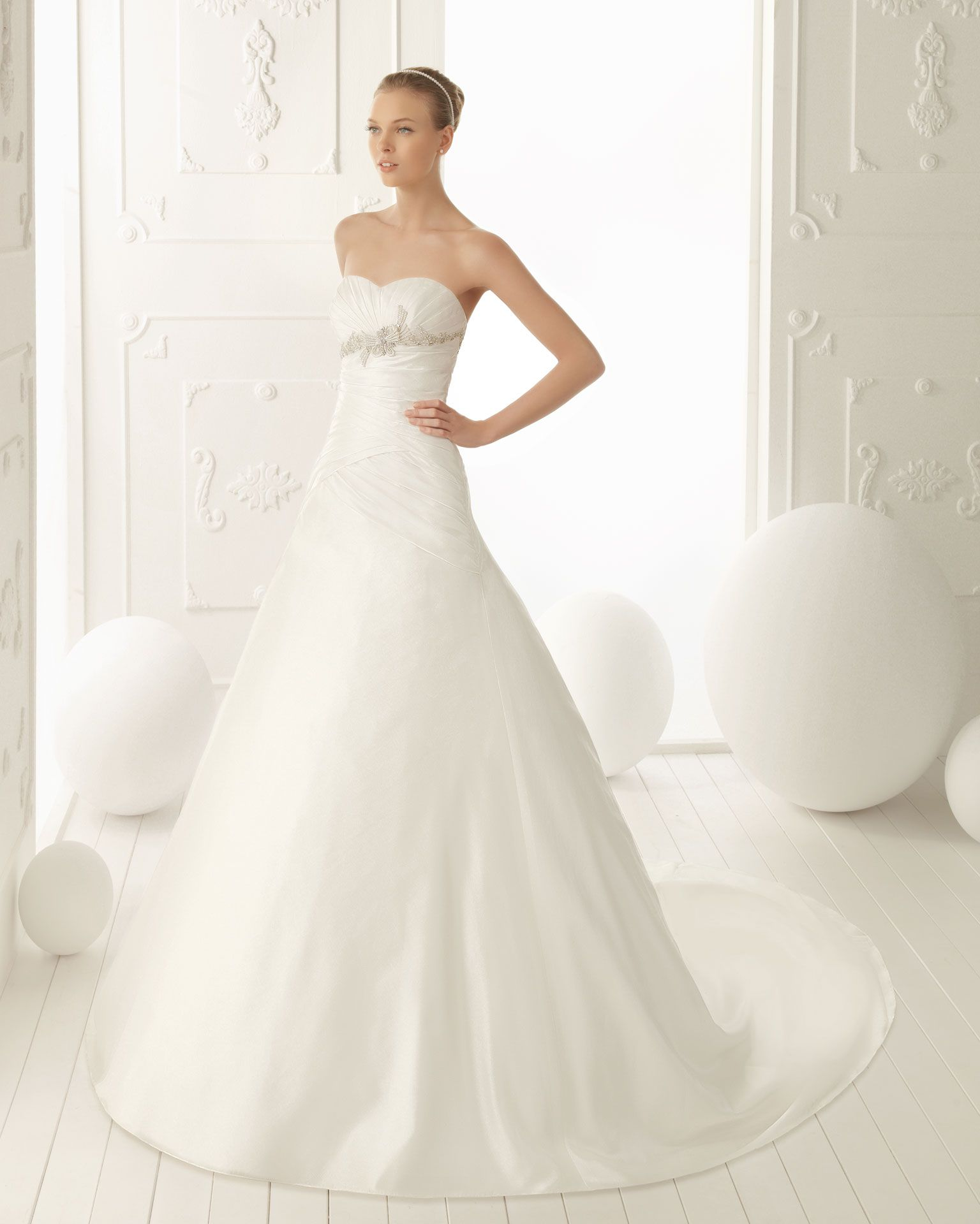 Ecru wedding dress  VELA  Beaded gazar dress with zip back in ecru T Pearl tiara in
