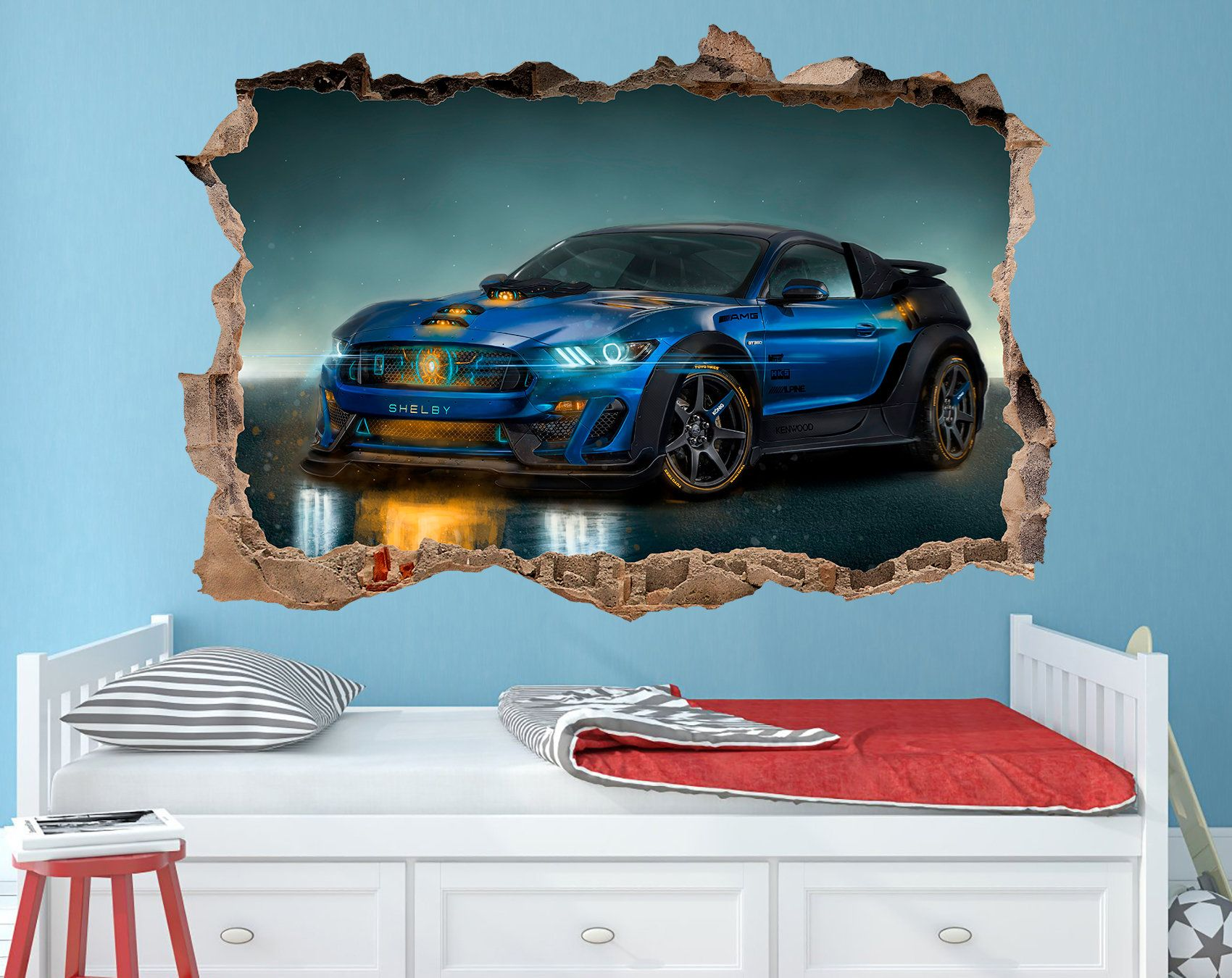 Ford Mustang Decal Ford Mustang Vinyl Sticker Ford Wall Decal Etsy Super Cars Ford Mustang Kids Room Decals [ 1350 x 1700 Pixel ]