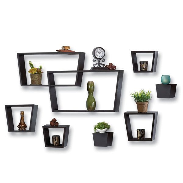 8 piece angle wall cube set black bed bath beyond