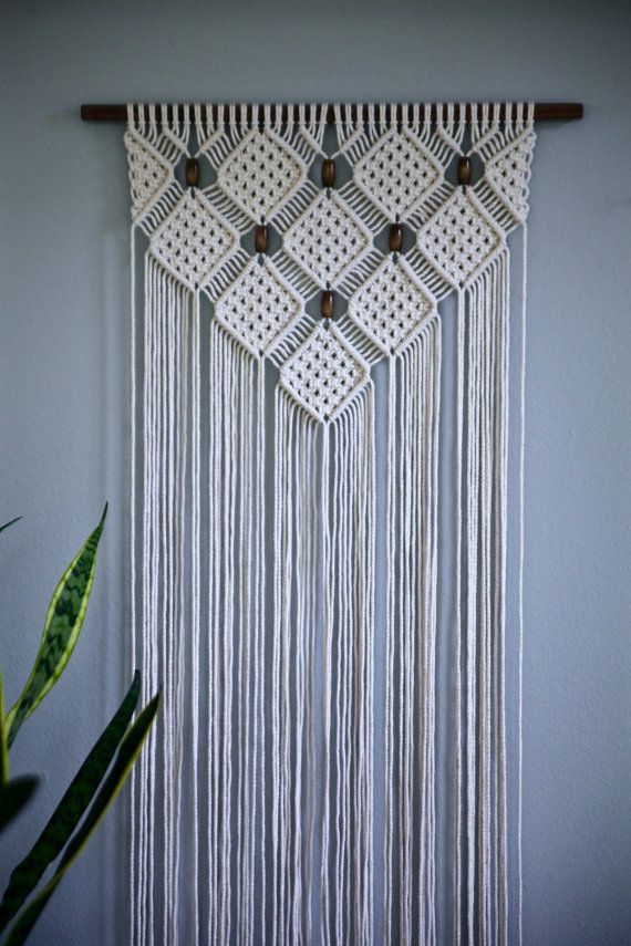 macrame wall hanging natural white cotton rope on 18. Black Bedroom Furniture Sets. Home Design Ideas