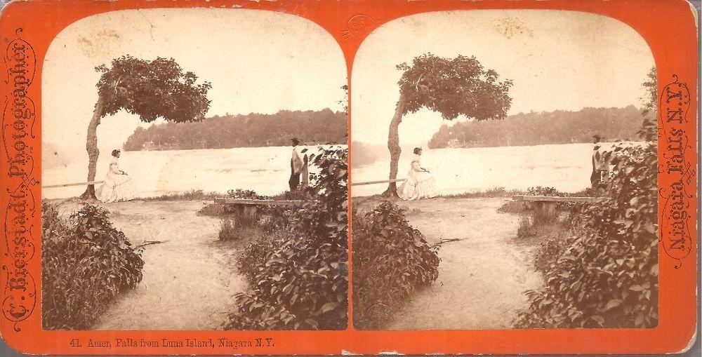 1872 Bierstadt Stereoview # 41 -  American Falls From Luna Island