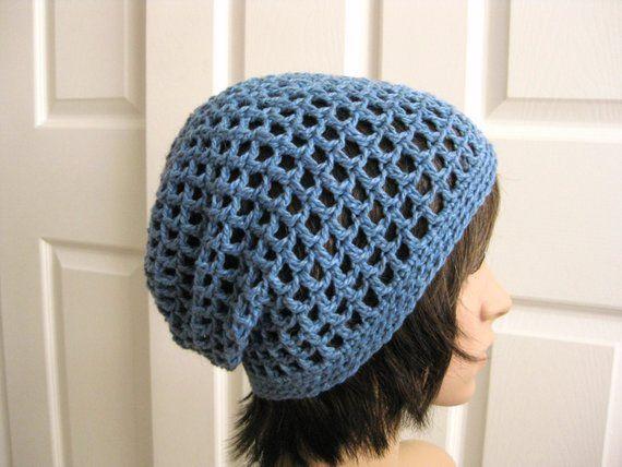 cc358e3b120 Crocheted Slouch Beanie Hat - Blue Crochet Slouchy Hat - Crochet Blue Beanie  - Teenager Slouch Hat -