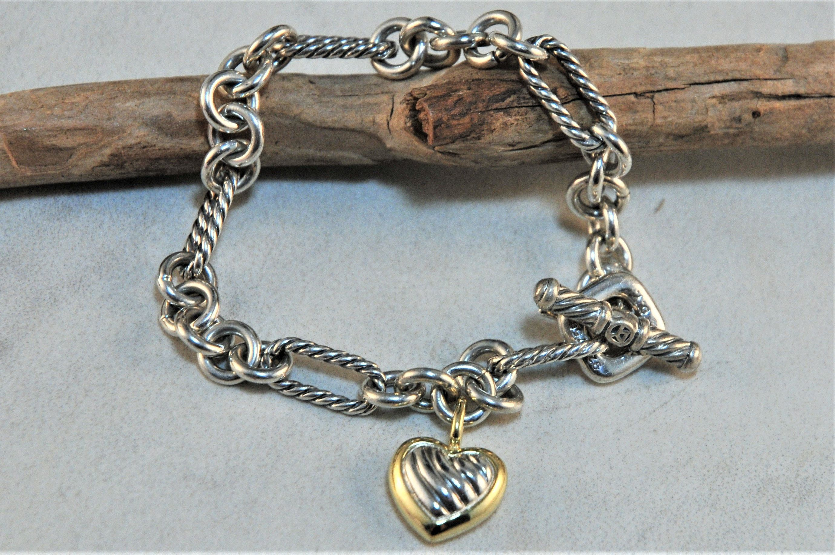 David yurman sterling silver 18k gold cable link heart