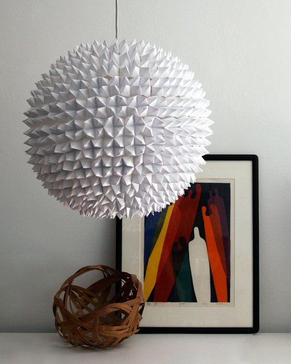 Large Dakota Pendant   White Faceted Folded Paper Hanging Sphere Lamp