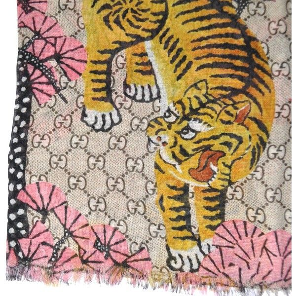 2af5d51cfb9 Gucci Scarf Bengal Tiger GG Pink Modal Silk Extra Large Square Scarf ( 279)  ❤
