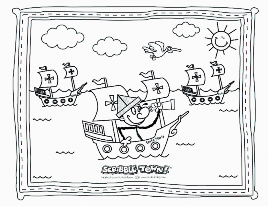 Christopher Columbus Map Coloring Pages | Elly\'s school | Pinterest ...