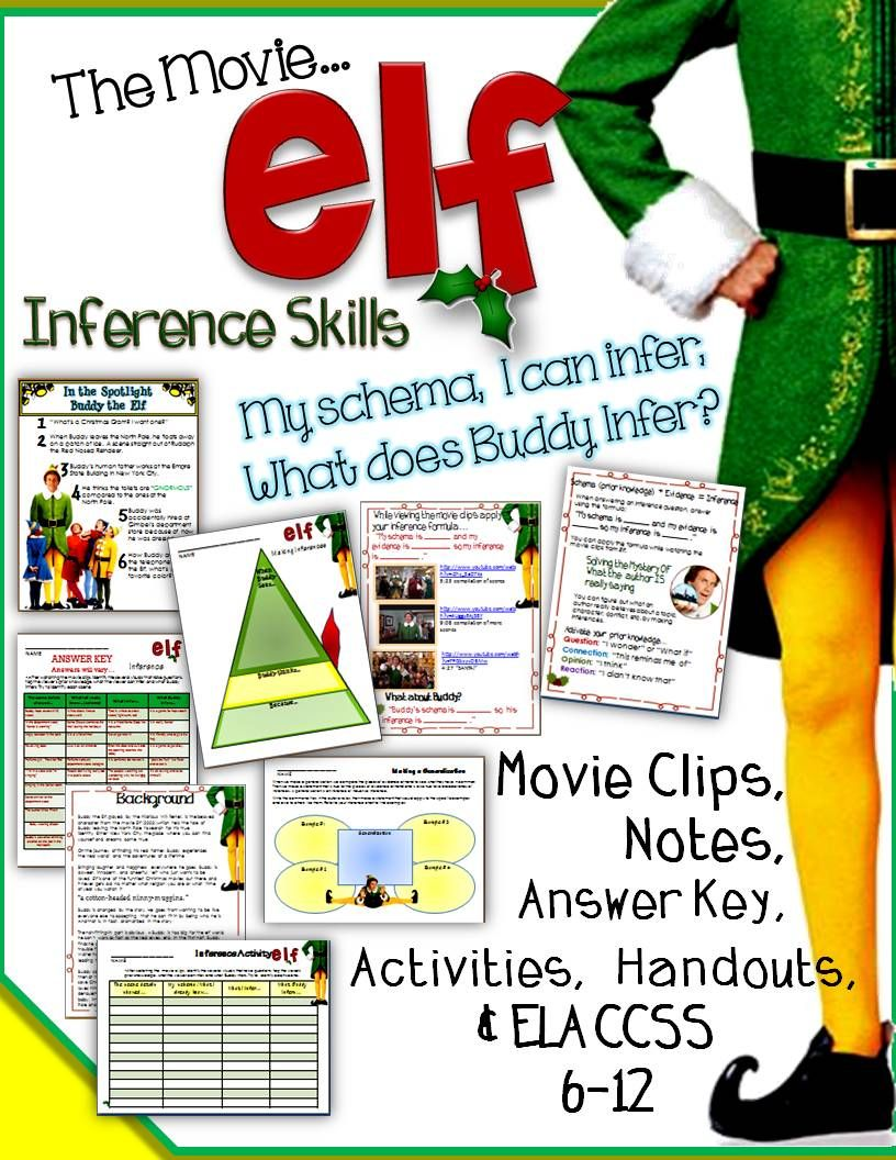 Christmas activities elf the movie for inference skills, schema ...