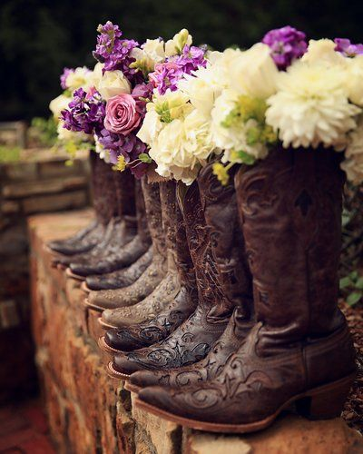 Cowboy Cowgirl Wedding Ideas: Bouquets 'n Boots! #wedding #cowboyboots #countrywedding