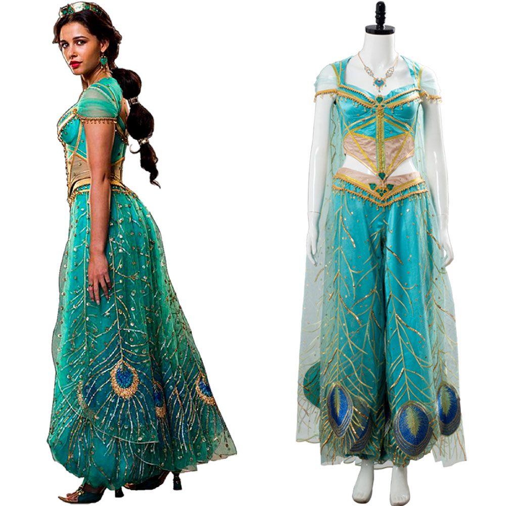 Girls Aladdin Cosplay Costume Womens Halloween Dress For Princess Jasmine Outfit