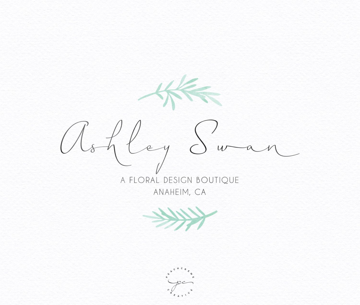 Premade Logo Design - Flower Wreath Watercolor Logo - Photography Logo - Small Business Logo Mint Watercolor vintage rustic custom logo by PeachCreme on Etsy