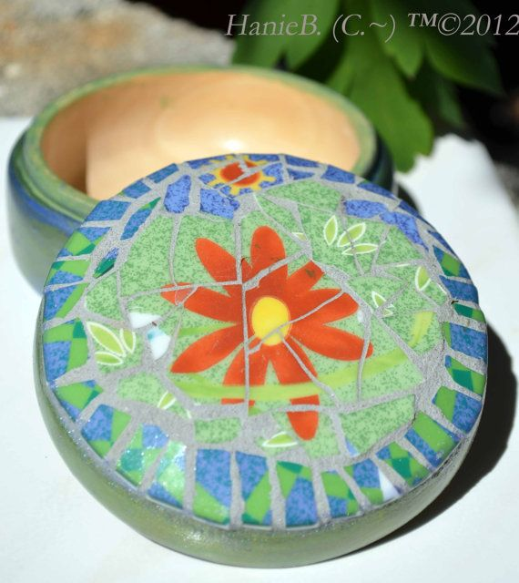 Mosaic & Wood Trinket Box UpCycled  Hand by HanieBCreations, $20.00