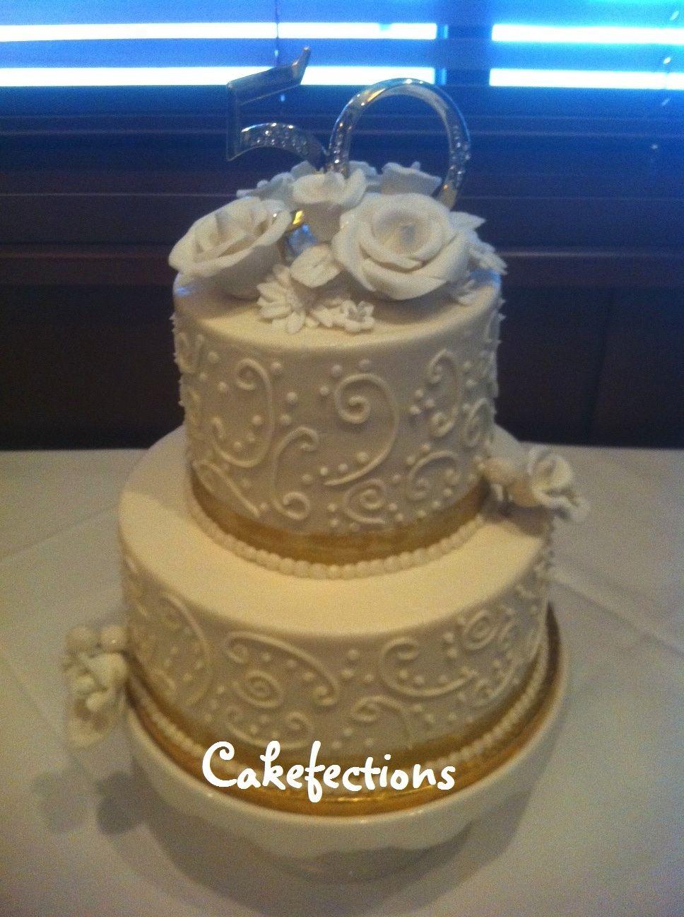 50th Anniversary Cake Buttercream Cake Wedding Cake Bakery Cake Decorating Designs