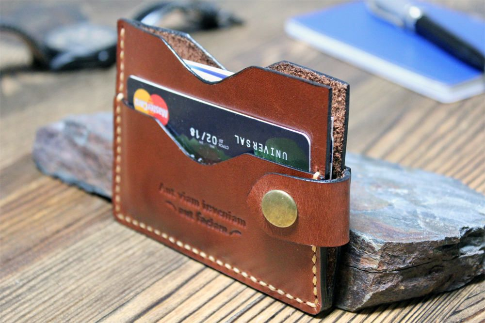 Business card case Leather card wallet Husband gift Slim card wallet ...