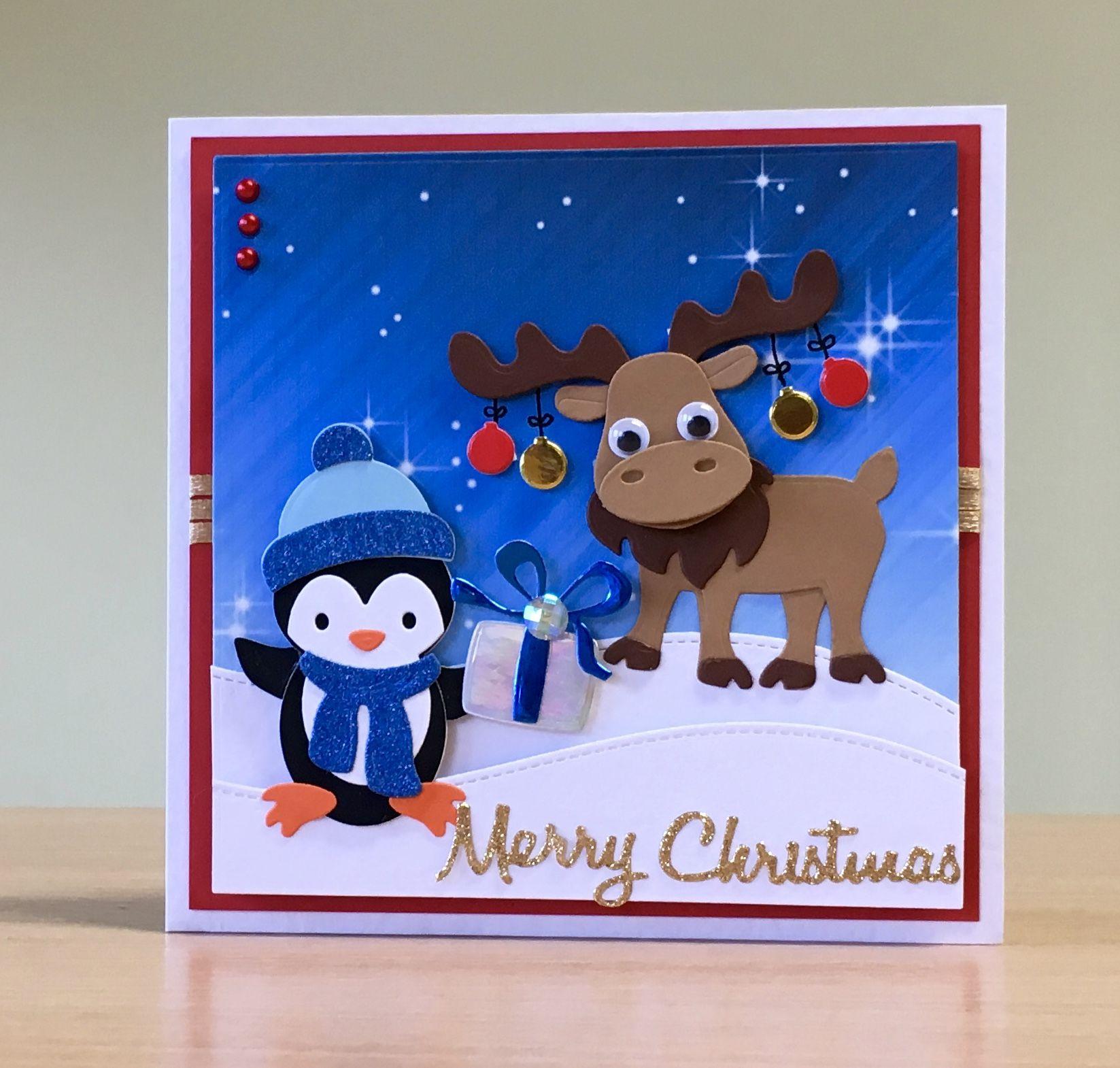 Christmas Card, Handmade - Elizabeth Craft moose & penguin dies. For ...